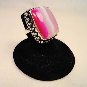 Bubble Gum pink striped African Agate Silver Ring